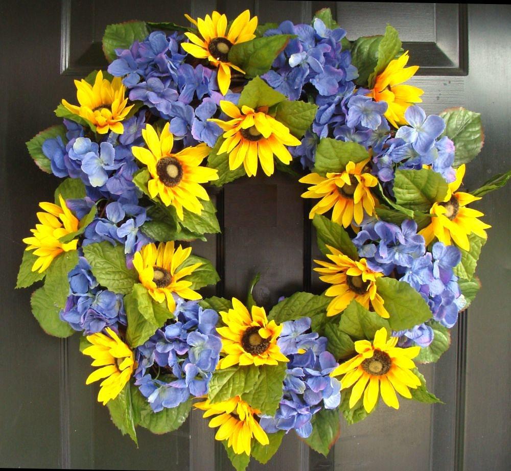 Hydrangea And Sunflower Wreath Summer Wreath Spring Door