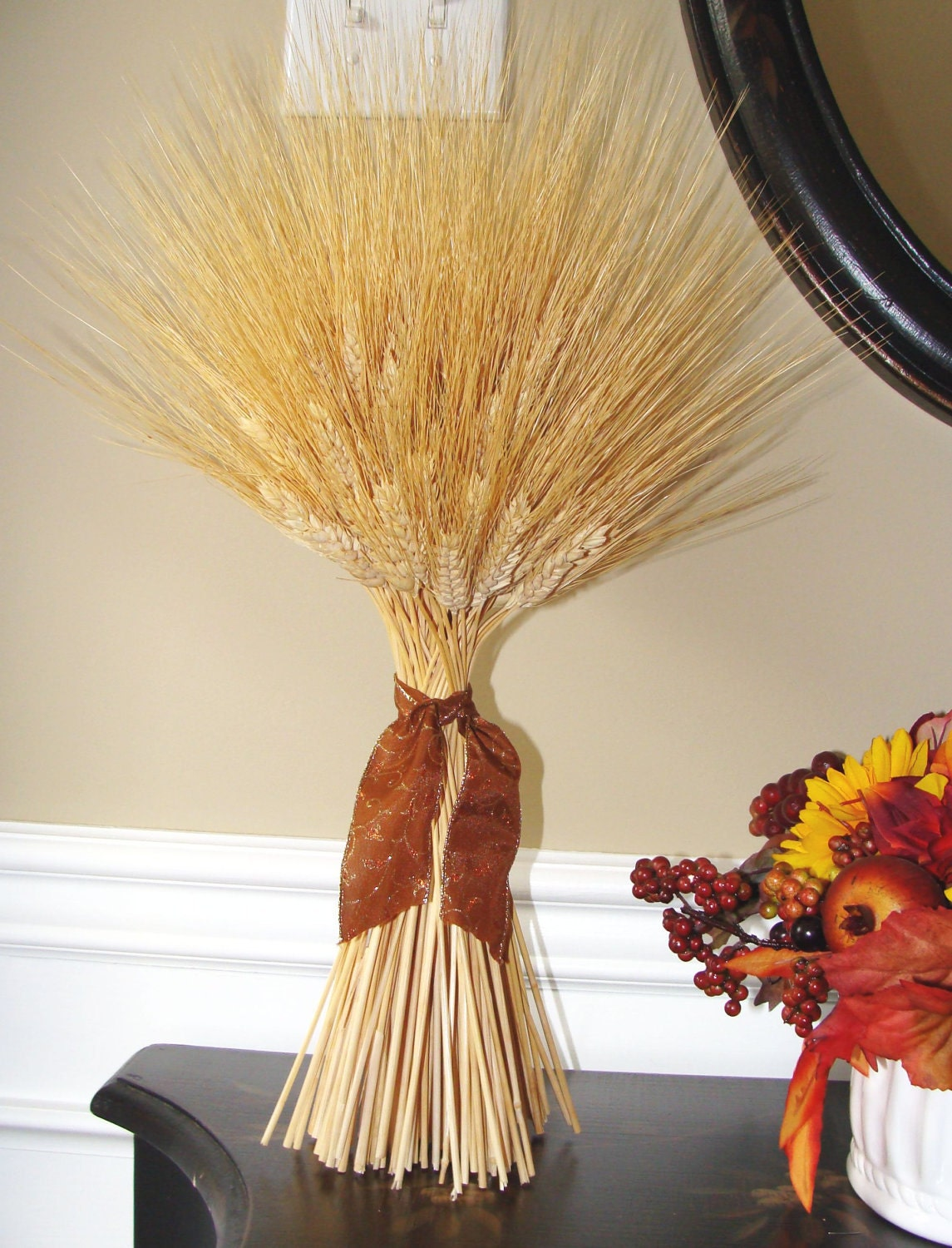 Fall decor thanksgiving decoration thanksgiving for Wheat centerpieces
