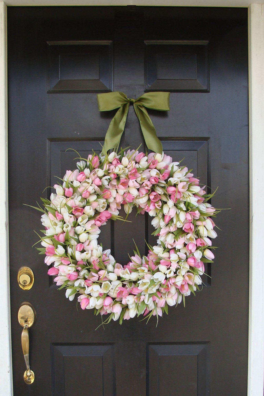 Spring Wreath Pink Mini Tulip Spring Wreath Front Door