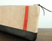 Clutch - Linen and Leather - Hand-printed - Persimmon Herringbone