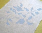 Tea Towel - Linen - Hand printed - Blue Flowering Branch