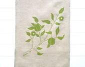 Linen Tea Towel - Hand Printed - Green Flowering Branch