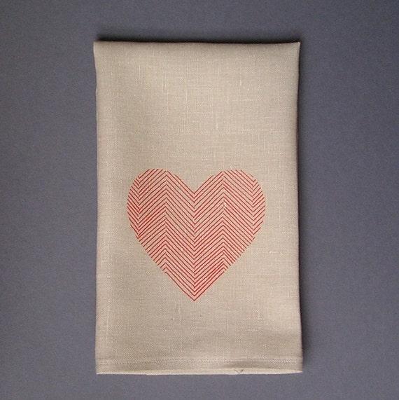 Hand printed Red herringbone Heart Tea Towel - Natural Linen