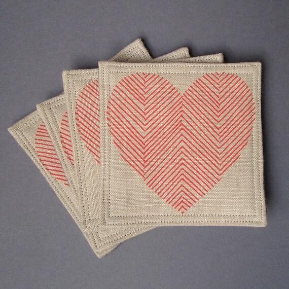 Valentine Coasters - Set of 4 - Linen and Wool - Red Herringbone Hearts