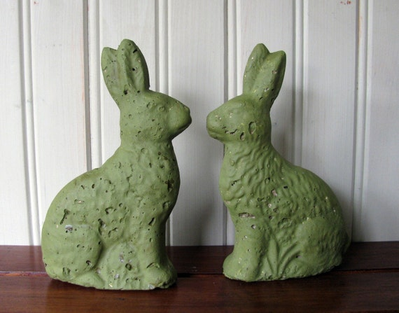Vintage Paper Mache Green Rabbits - Set of Two
