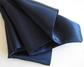 Mens Pocket Squares, 3 Navy Blue Pocket Squares, Silky Satin Pocket Squares, Wedding Pocket Squares, Unisex Pocket Squares,  3 Pocket Square