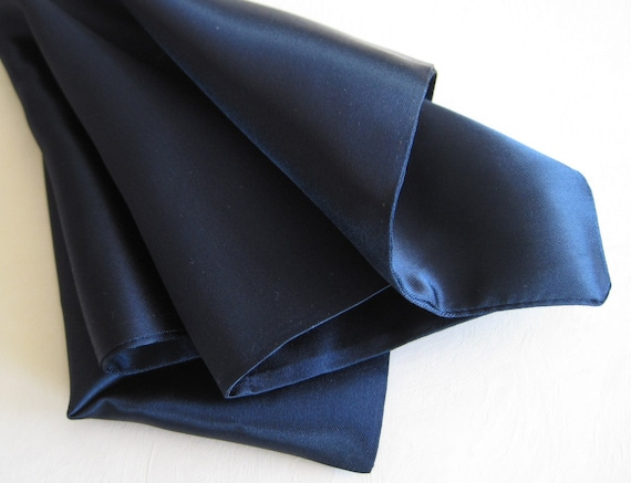 Mens Pocket Squares Silky Satin Navy Blue Unisex Pocket Squares Set of 2 by Lisolabella on Etsy