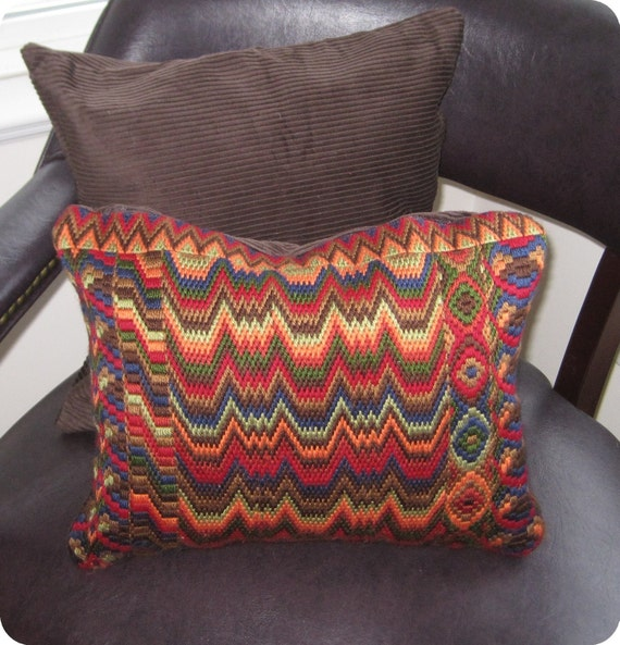 Bargello Needlepoint Pillow, Hand Embroidered Decorative Pillow, Needleping Cushion and Matching Plain Pillow, Bargello Pillow Ready to Ship