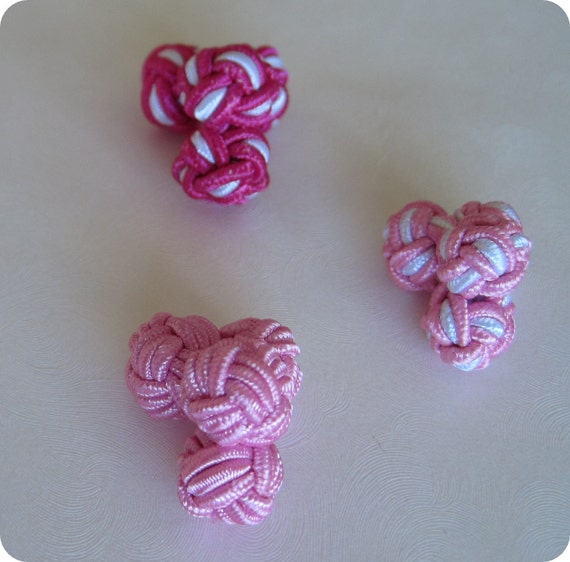 Mens Cuff Links Chinese Knots Set of 3 Pairs Solid Pink, Pink and White, Dark Pink and White