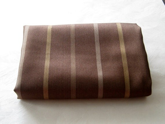 Mens Silk Pocket Square, Pure Silk Handkerchief,  Unisex Brown Taupe Gold Stripes Pocket Square