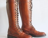Sz 8 Vintage COLE - HAAN Country Laced Up Boots Womens