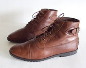 size 8 brown leather BUCKLE ankle boots