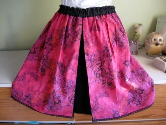 Handmade Bright pink and Black Full skirt with Inverted Pleat-one size