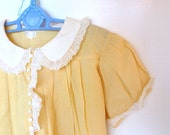 Lemon Drop Yellow Babydoll Frock with white Trim Vintage 1950s Size 6 to 9 Months