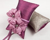 Amber Ring Pillow with Splash - Silk Purple Ring Bearer Pillow