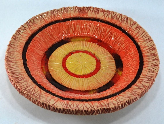 SALE Orange Clay and Glass Plate