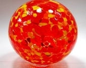Hand blown glass float (small) - Red, yellow and orange