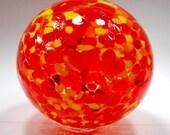 Hand blown glass float (medium) - Red, yellow and orange