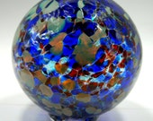 Hand blown glass float (large) - blue, ruby mix