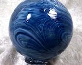 Hand blown glass float (small) - Teal blue swirl