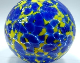 Hand blown glass float (small) - blue and yellow
