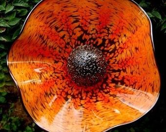 Hand blown glass flower - Orange (opaque)
