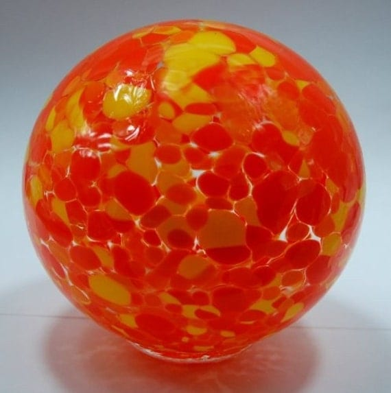 Hand blown glass float (small) - orange and yellow