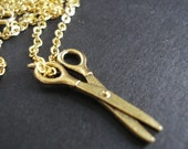 SALE Let's Cut Gold Necklace with Gold Scissors on 18 Inch Gold Chain