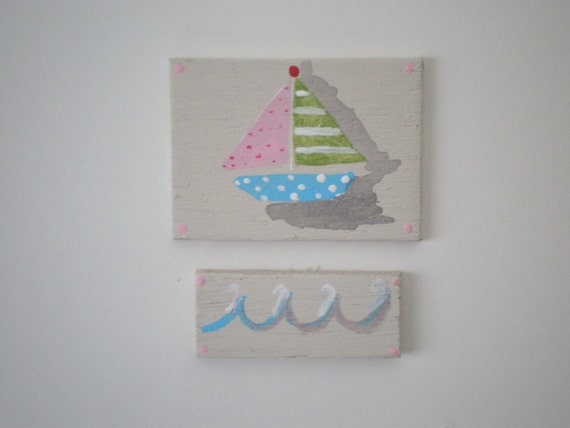 Sailing Away Sail Boat and Waves  Painting  Dollhouse 1 Inch Scale Handpainted