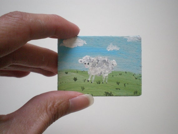 Sheep Painting  Dollhouse 1 Inch Scale Handpainted
