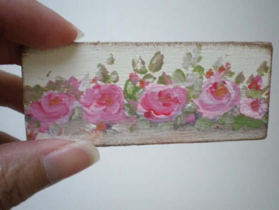 Shabby Chic Roses  Painting  Dollhouse 1 Inch Scale Handpainted