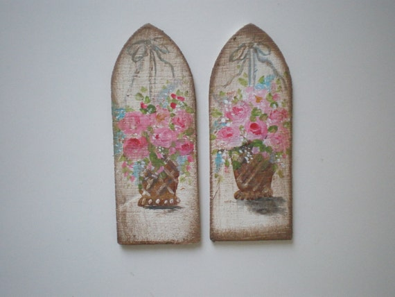 Two Shabby Chic Roses in Basket  Painting  Dollhouse 1 Inch Scale Handpainted