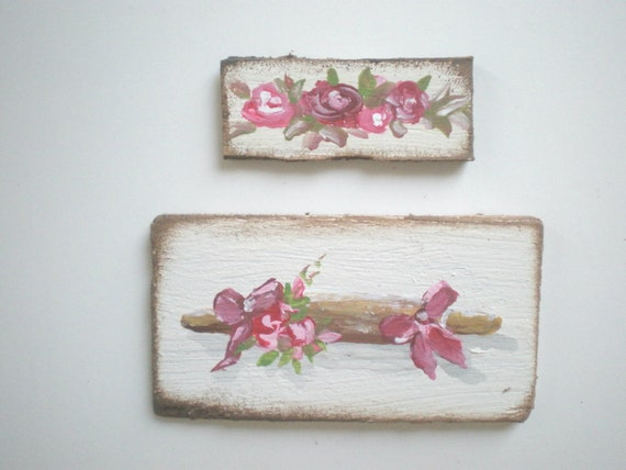 Rolling Pin and Roses  Painting  Dollhouse 1 Inch Scale Handpainted