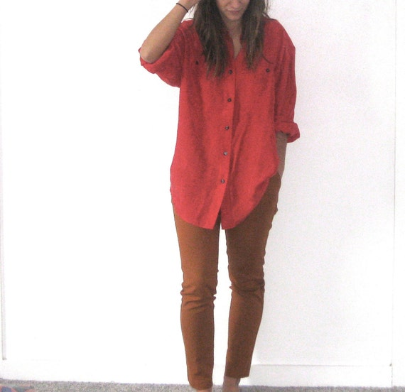 Vintage Red Silk Shirt