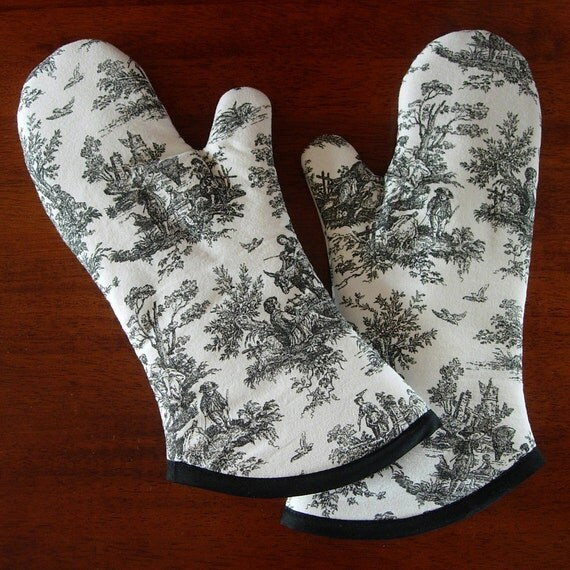 Oven Mitts Black And White Toile French Country Oven