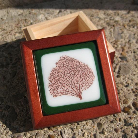 Green and White Leaf Treasure Box