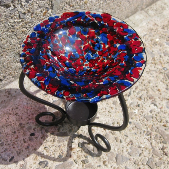 Red and Blue Fused Glass Tart Burner