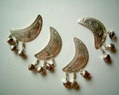 Set of FOUR Silver Embossed Aluminium Moon, Crescent with small bells, star, buttons, beads, metal, small, shiny, cute, elegant, pretty