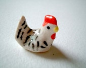 Little Black and White Thai Ceramic Hen, ceramic chicken, rooster, cock, chick, mini animal, ceramic animal, miniature animal, miniature