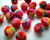 Mixed Party Yarn Pom Poms, cotton, yarn ball, pompom, party decoration, party, flower, yarn button, 20 cotton poms, SALE, discounted
