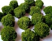 Dark Green Yarn Pom Poms, cotton pom pom, beads, balls, pompom, flower poms, decoration, wedding, birthday, party, eco, discounted, SALE