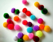 30 Party Yarn Pom Poms, yarn balls, yarn poms, pom pom, yarn beads, soft, pompom, pink, blue, green, yellow, bright, toss, confetti