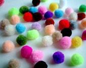 Mini Extra Soft Party Yarn Pom Poms, pompom, beads, thread, ball, baby, button, colorful, kid, children, tiny, 20 pom poms, discounted, SALE