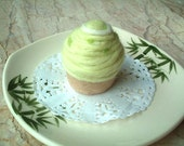 Green Needle Felt Food, Mont Blanc, OOAK, light green, felt sweet, felt cake, play food, toy, wool, yarn, pin cushion