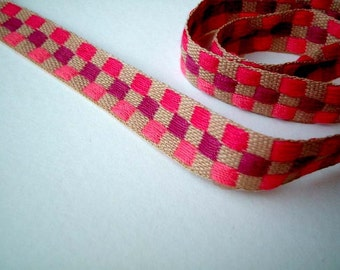 1 yard (90 cm) of 1/2 inch wide Fabric Ribbon, fabric trim : brown, pink, purple, check, crafting, card decor, birthday, gift wrap, check