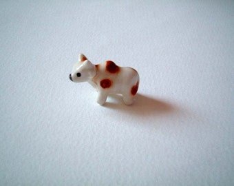 Cow, Little, Brown, White, Ceramic Cow, Ox: decoration, mini, small, little, tiny, porcelain, farm animal, tiny, miniature, cute, kawaii