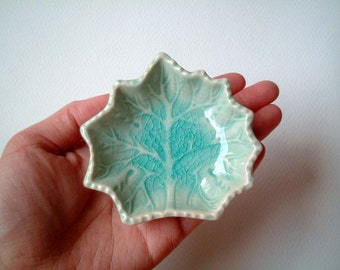 Light Blue Maple Leaf Ceramic Plate: ceramic plate, sauce dish, oil dish, mini, small, decoration, soap dish, summer, decor, iammie