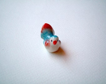 Little Bright Blue with Red Wings and Bottom Ceramic Bird: mini animal, ceramic animal, tiny animal, small animal, little animal, decoration