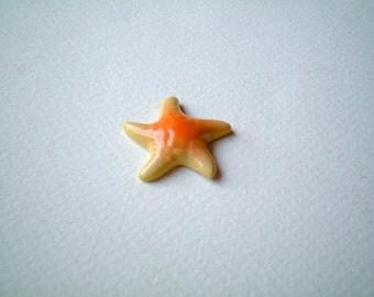 Miniature Starfish, Yellow, Orange, Ceramic animal, starfish figurine, little, miniature, small, tiny, porcelain, sea, aquarium, iammie