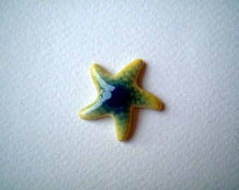 Miniature Starfish Figure, Blue and Yellowish Green Ceramic Starfish, miniature animal, decoration, tiny animal, small, tiny, mini, iammie
